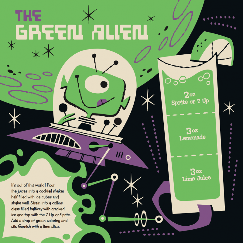Green Alien Kiddie Cocktail Recipe